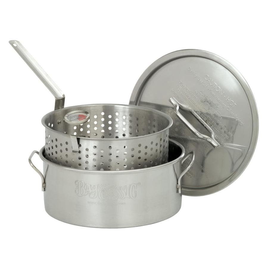 Bayou Classic 10-Quart Stainless Steel Fry Pot Lid(s) Basket(s) Included