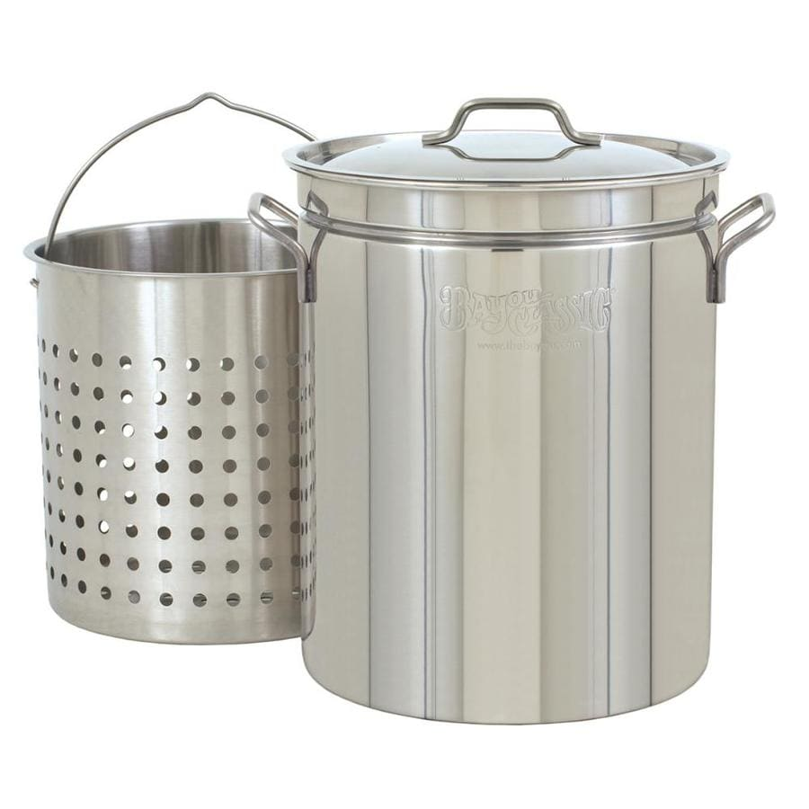 Bayou Classic 44-Quart Stainless Steel Stock Pot Lid(s) Basket(s) Included
