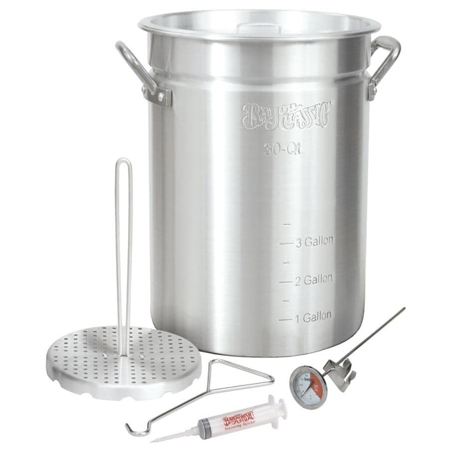Bayou Classic Turkey Fryer Stockpot 30-Quart Aluminum Fry Pot with Lid
