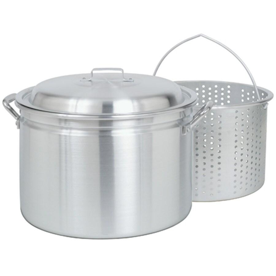 Bayou Classic 24-Quart Aluminum Stock Pot with Lid and Basket