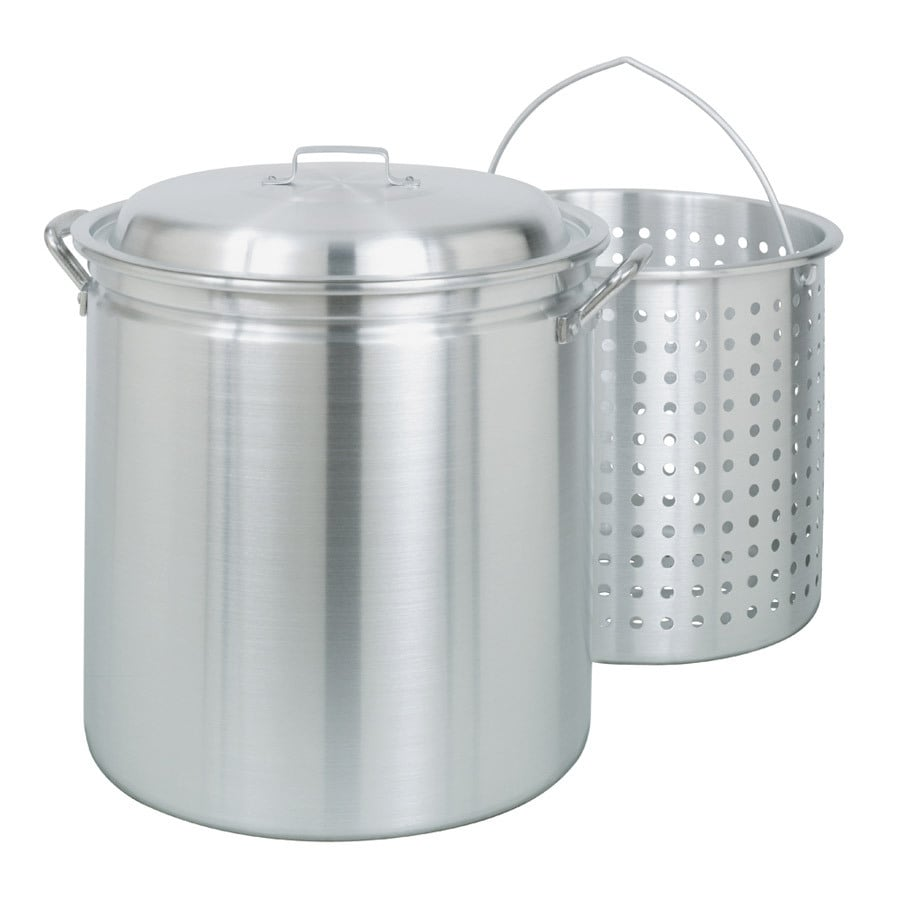 Bayou Classic 60-Quart Aluminum Stock Pot with Lid and Basket