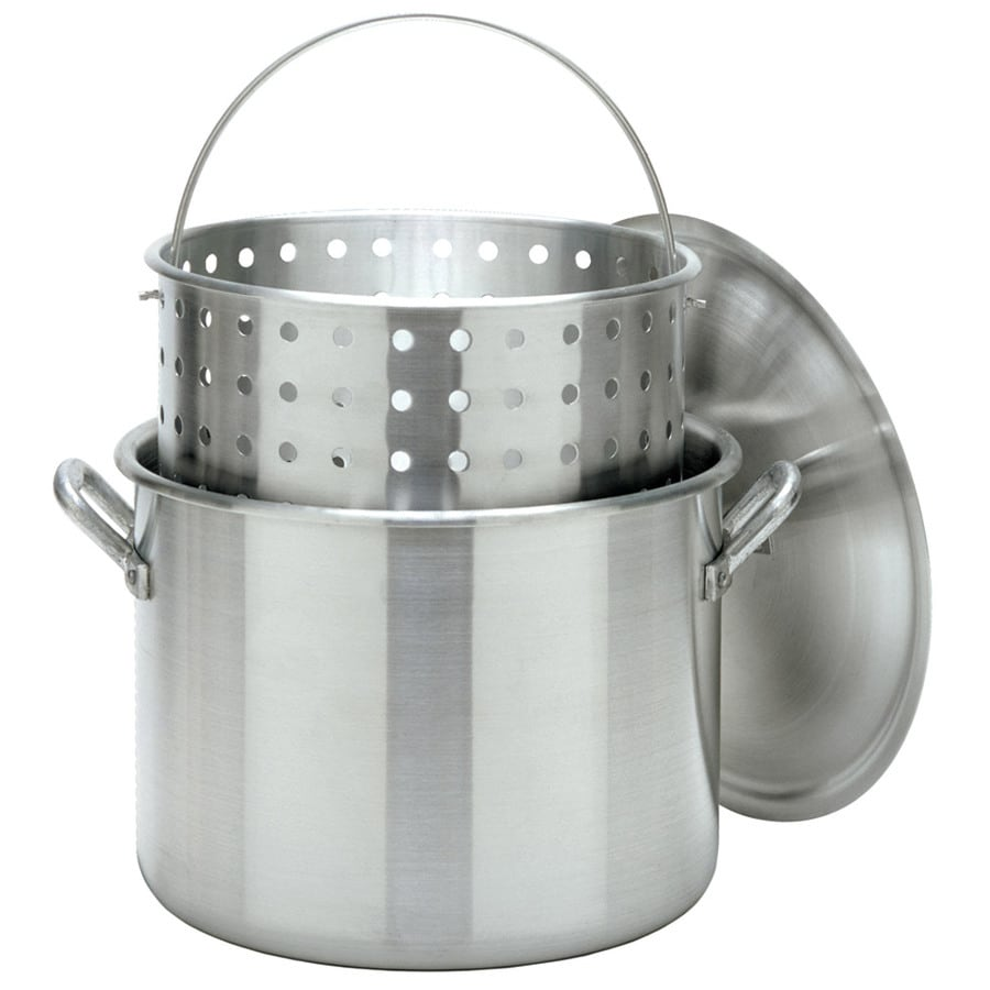 Bayou Classic 80-Quart Aluminum Stock Pot with Lid and Basket