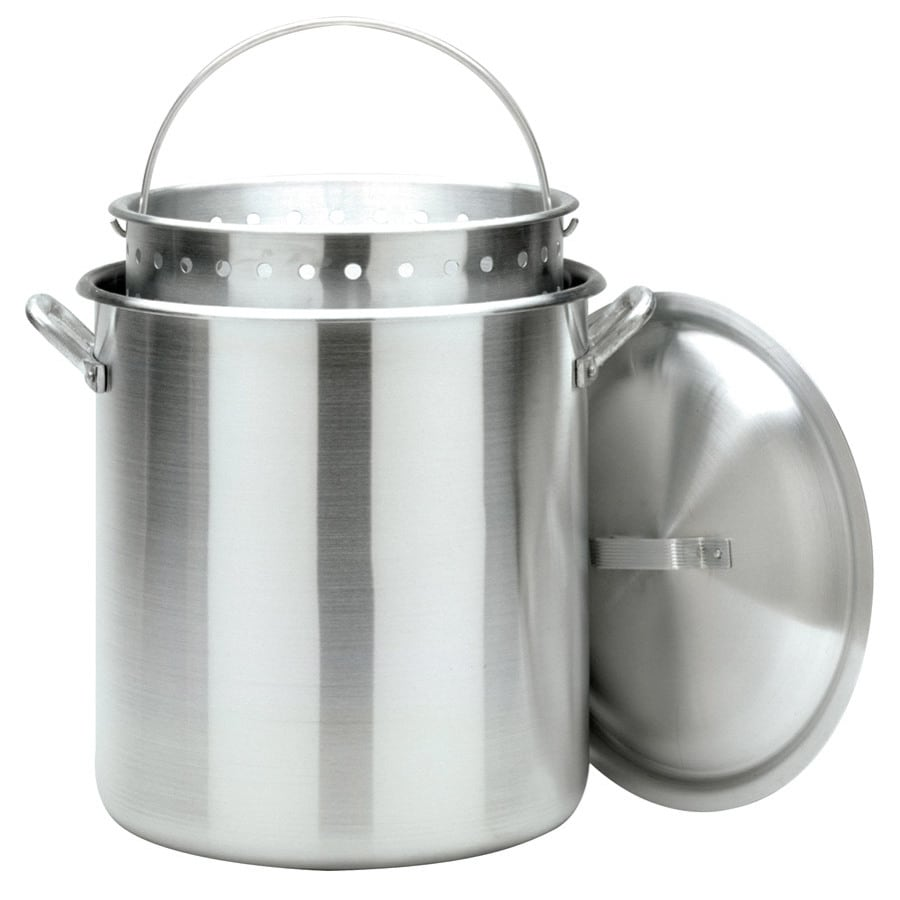Bayou Classic 100-Quart Bayou Boiler Stockpot with Vented Lid and Basket