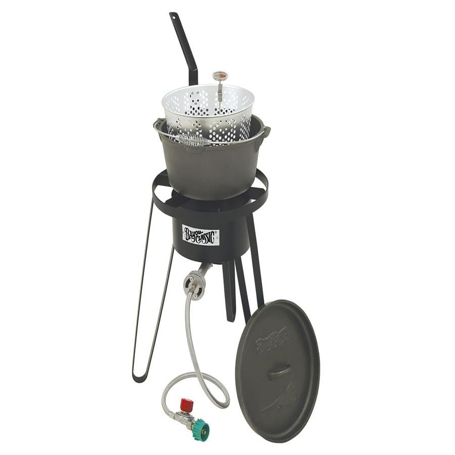 Bayou Classic 21-in 20-lb Cylinder Manual Ignition Black Steel Outdoor Stove