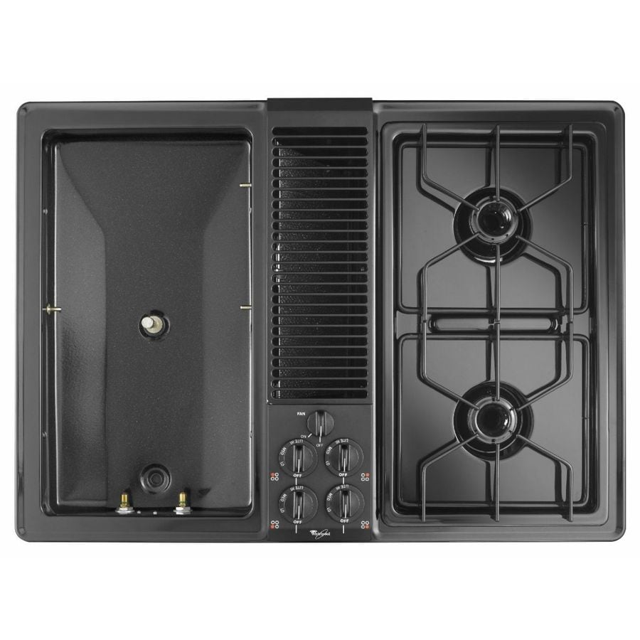Whirlpool 30-in 4-Burner Downdraft Gas Cooktop (Black)