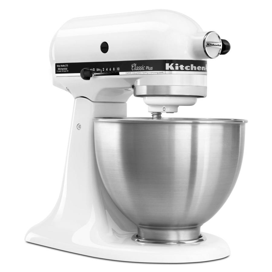 shop kitchenaid classic 4 5 quart 10 speed white stand mixer at lowes
