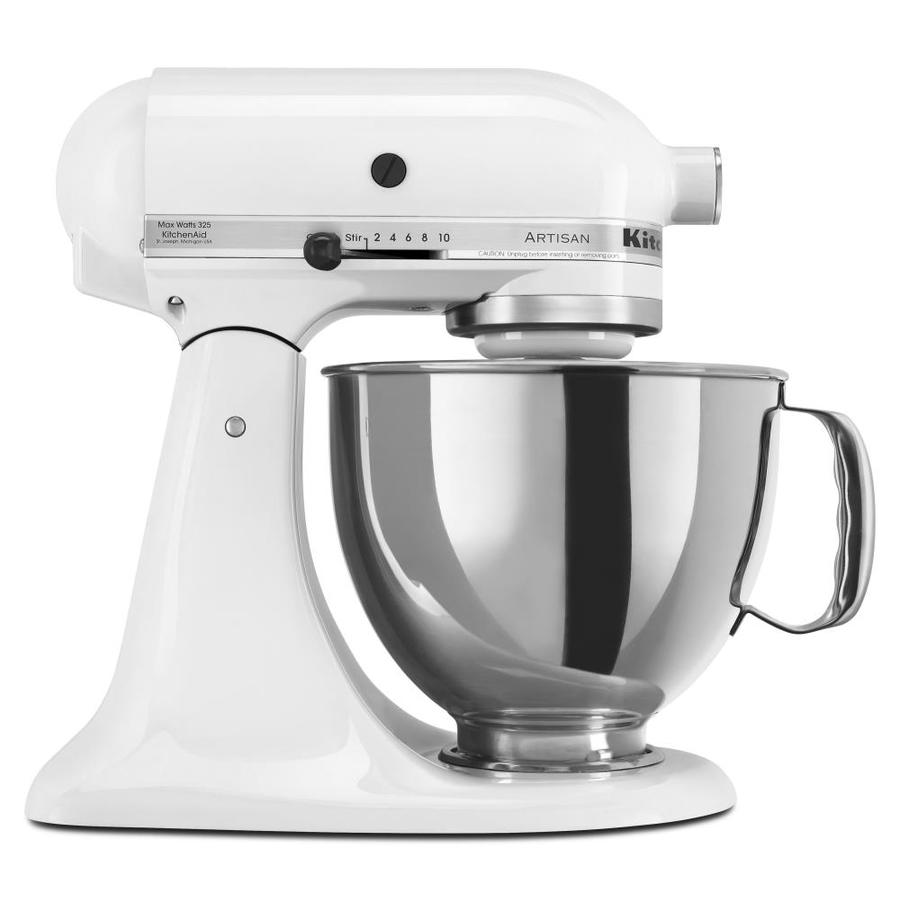 kitchenaid artisan series 5 quart 10 speed white countertop stand mixer at. Black Bedroom Furniture Sets. Home Design Ideas