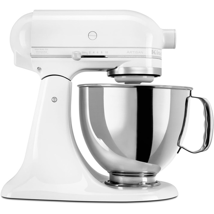 shop kitchenaid artisan series 5 quart 10 speed white on white countertop stand mixer at. Black Bedroom Furniture Sets. Home Design Ideas