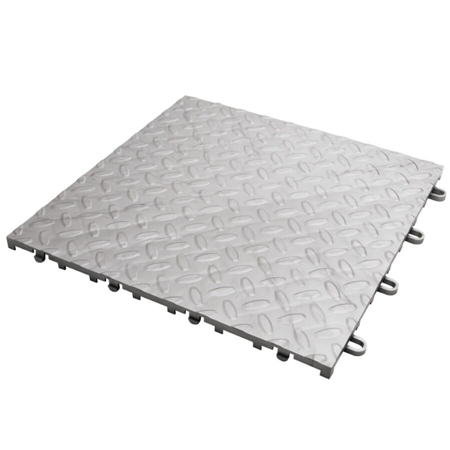 Shop gladiator 4 piece 12 in x 12 in silver diamond plate garage gladiator 4 piece 12 in x 12 in silver diamond plate garage floor dailygadgetfo Choice Image