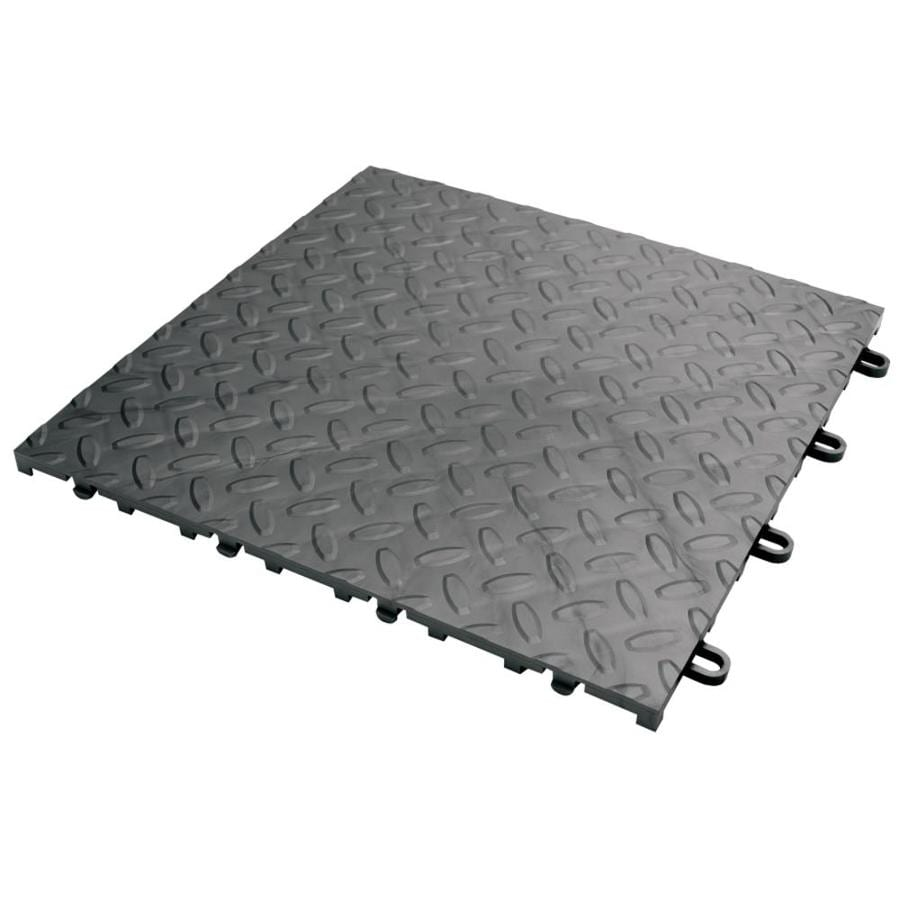 Shop gladiator 48 piece 12 in x 12 in charcoal diamond plate gladiator 48 piece 12 in x 12 in charcoal diamond plate garage floor dailygadgetfo Choice Image