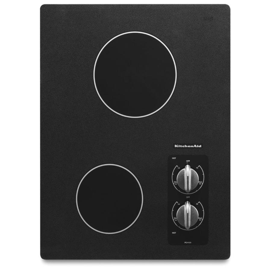 shop kitchenaid 2 element smooth surface electric cooktop black common 15 in actual. Black Bedroom Furniture Sets. Home Design Ideas