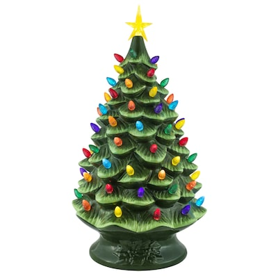 Lighted Two Tone Green Tree Tabletop Decoration by Lowe's
