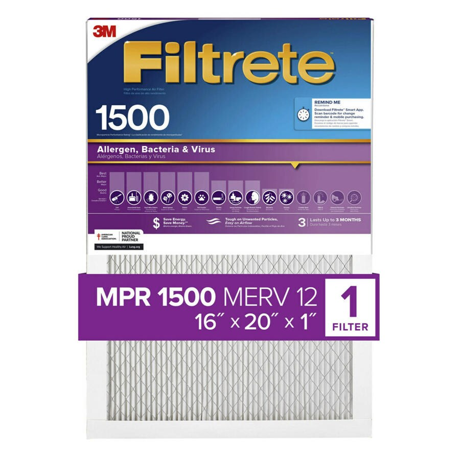 Filtrete 1500 MPR Ultra Allergen (Common: 16-in x 20-in x 1-in; Actual: 15.7-in x 19.6-in x 0.7812-in) Electrostatic Pleated Air Filter