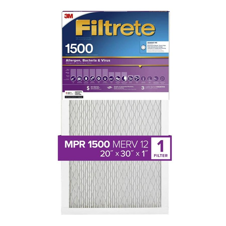 Filtrete 1500 MPR Ultra Allergen (Common: 20-in x 30-in x 1-in; Actual: 19.6-in x 29.7-in x 0.7812-in) Electrostatic Pleated Air Filter