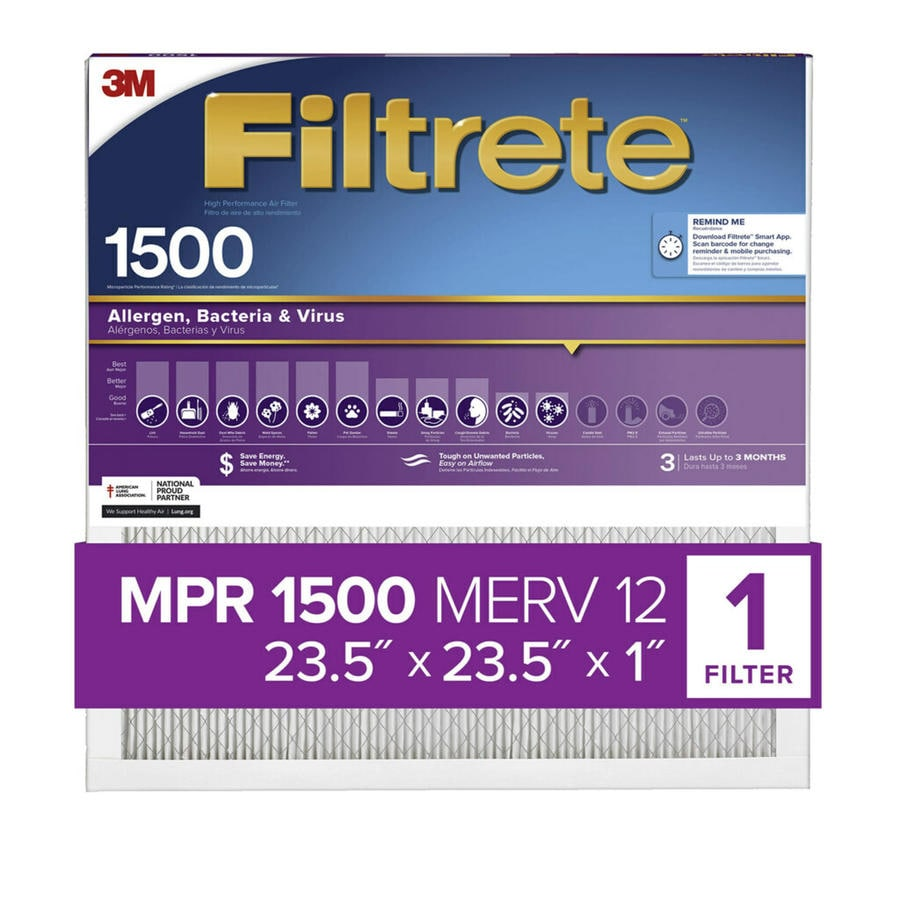 Filtrete 1500 MPR Ultra Allergen (Common: 23.5-in x 23.5-in x 1-in; Actual: 23.1875-in x 23.1875-in x 0.7812-in) Electrostatic Pleated Air Filter