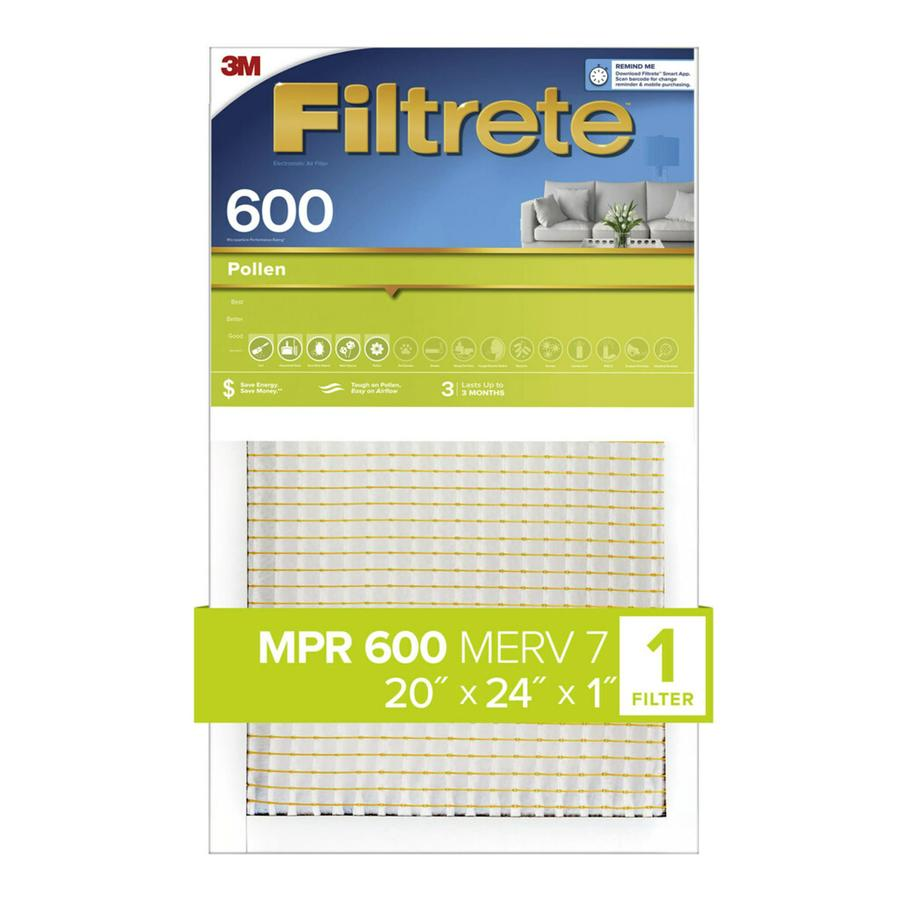 Filtrete 600 MPR Dust & Pollen (Common: 20-in x 24-in x 1-in; Actual: 19.6-in x 23.7-in x 0.8125-in) Electrostatic Pleated Air Filter