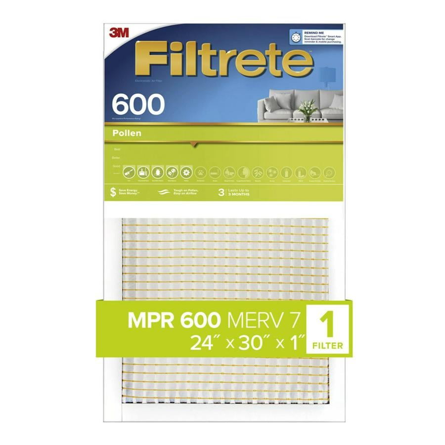 Filtrete 600 MPR Dust & Pollen (Common: 24-in x 30-in x 1-in; Actual: 23.7-in x 29.7-in x 0.8125-in) Electrostatic Pleated Air Filter