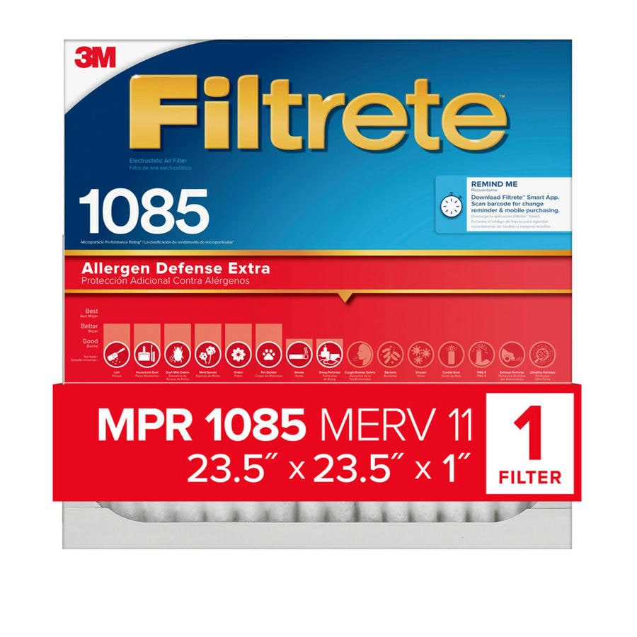 Filtrete 1085 MPR Micro Allergen Extra (Common: 23.5-in x 23.5-in x 1-in; Actual: 23.1-in x 23.1-in x 0.8125-in) Electrostatic Pleated Air Filter