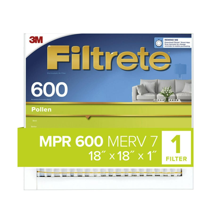Filtrete 600 MPR Dust & Pollen (Common: 18-in x 18-in x 1-in; Actual: 17.7-in x 17.7-in x 0.8125-in) Electrostatic Pleated Air Filter