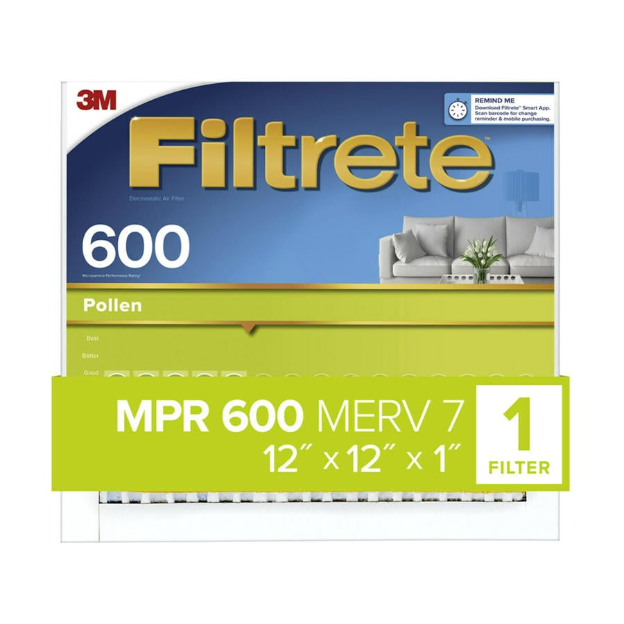 Filtrete 600 MPR Dust & Pollen (Common: 12-in x 12-in x 1-in; Actual: 11.7-in x 11.7-in x 0.8125-in) Electrostatic Pleated Air Filter