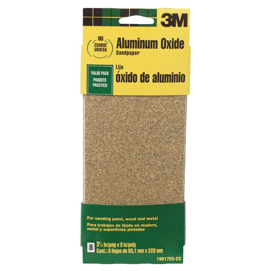 3M 8-Pack 3.66-in W x 9-in L 60-Grit Commercial Sandpaper