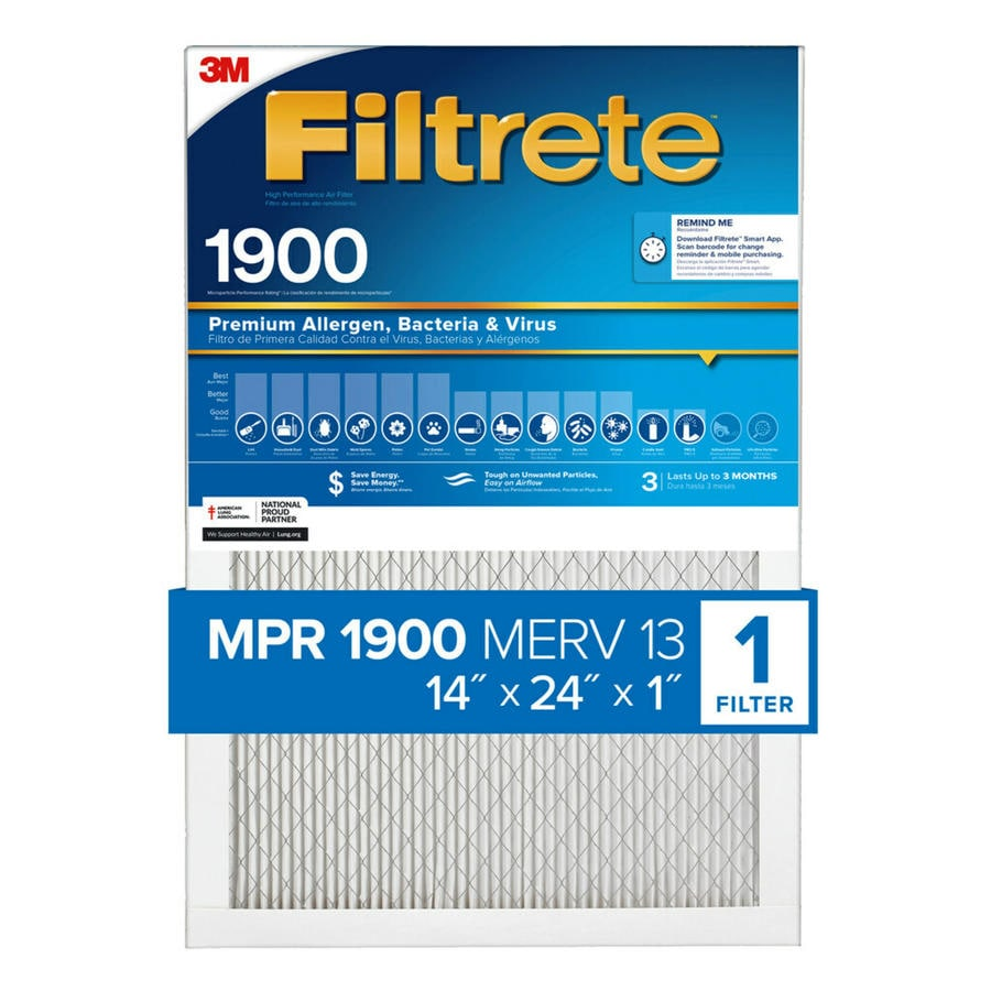 Filtrete 1900 MPR Maximum Allergen (Common: 14-in x 24-in x 1-in; Actual: 13.7-in x 23.7-in x 0.7812-in) Electrostatic Pleated Air Filter