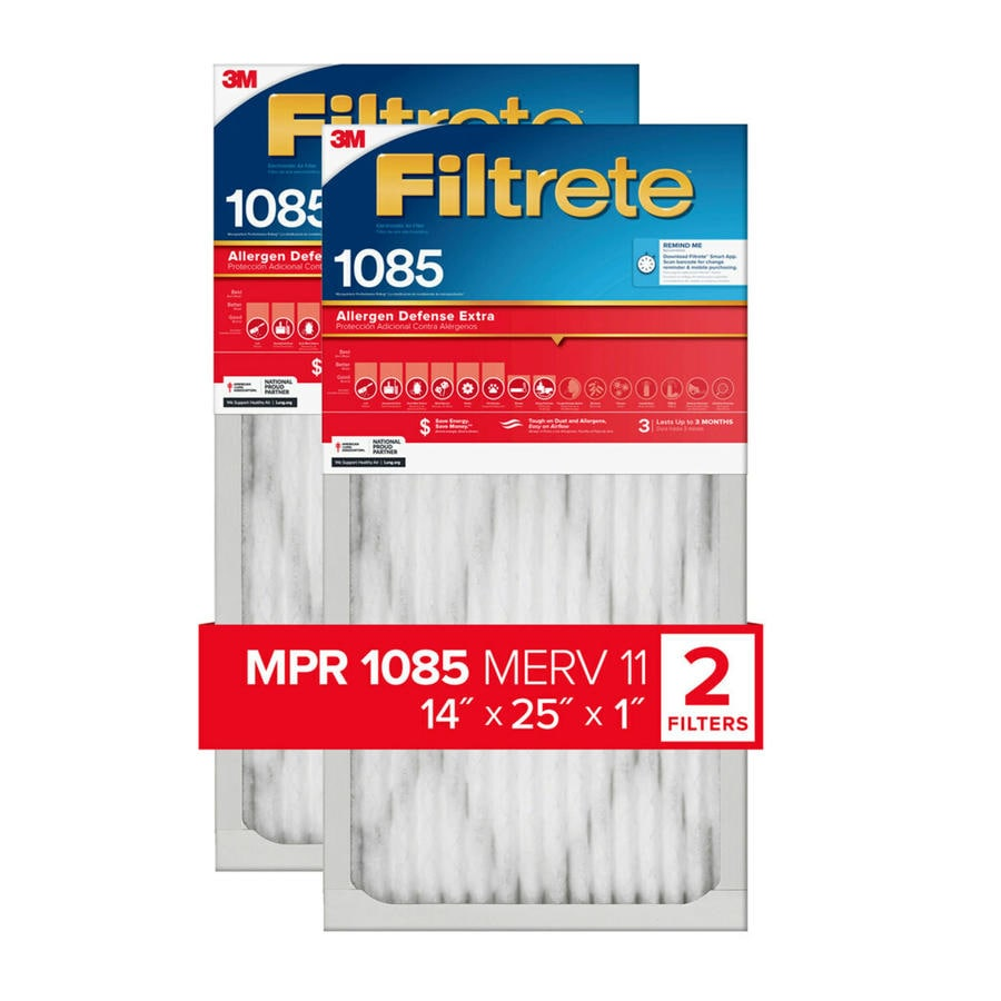 Filtrete 2-Pack 1085 MPR Micro Allergen Extra (Common: 14-in x 25-in x 1-in; Actual: 13.7-in x 24.7-in x 0.8125-in) Electrostatic Pleated Air Filter