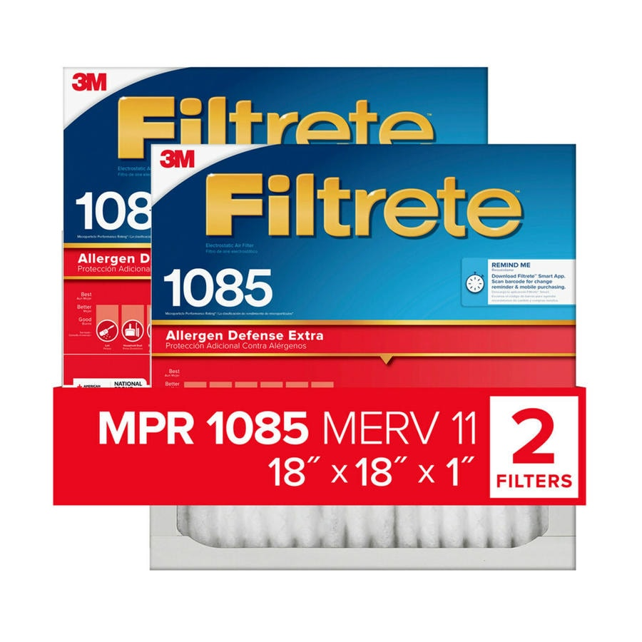 Filtrete 2-Pack 1085 MPR Micro Allergen Extra (Common: 18-in x 18-in x 1-in; Actual: 17.7-in x 17.7-in x 0.8125-in) Electrostatic Pleated Air Filter