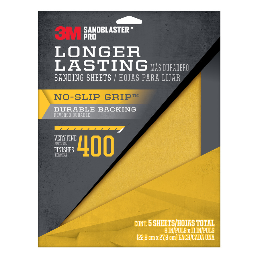 3M 5-Pack 9-in W x 11-in L 400-Grit Commercial Sandpaper Sheets