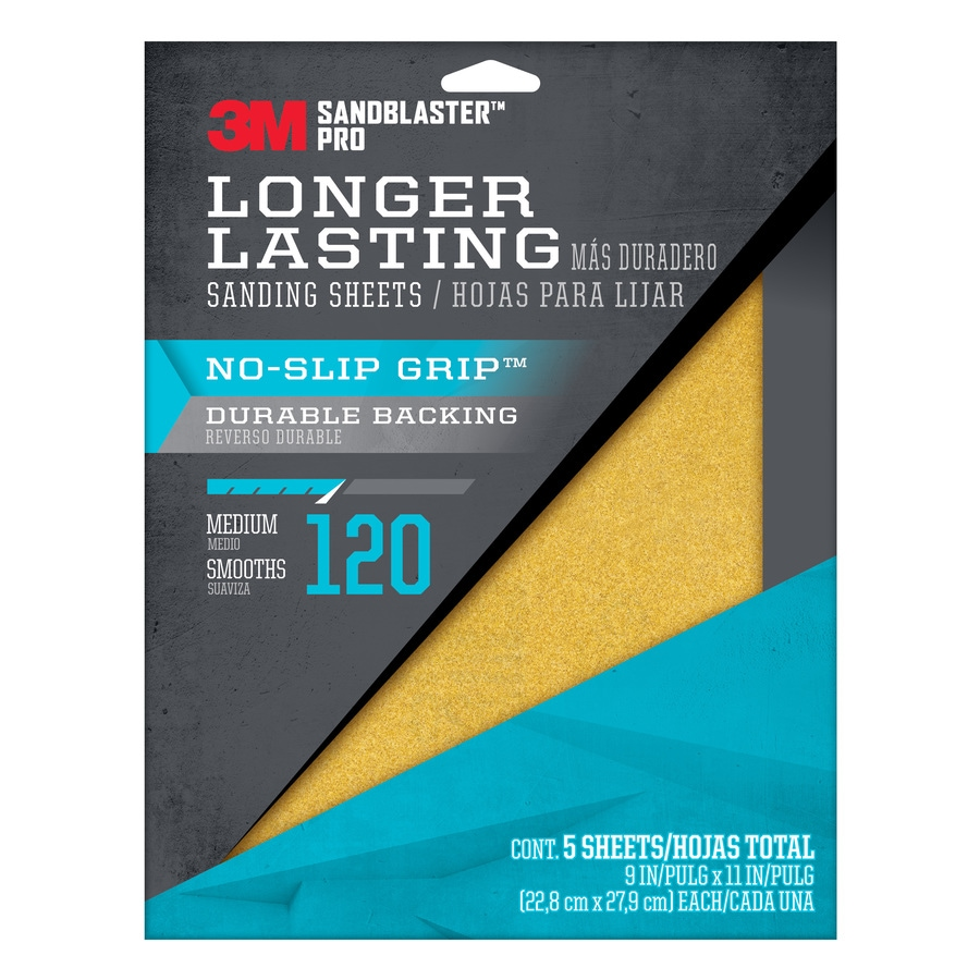 3M 5-Pack 9-in W x 11-in L 120-Grit Commercial Sandpaper Sheets