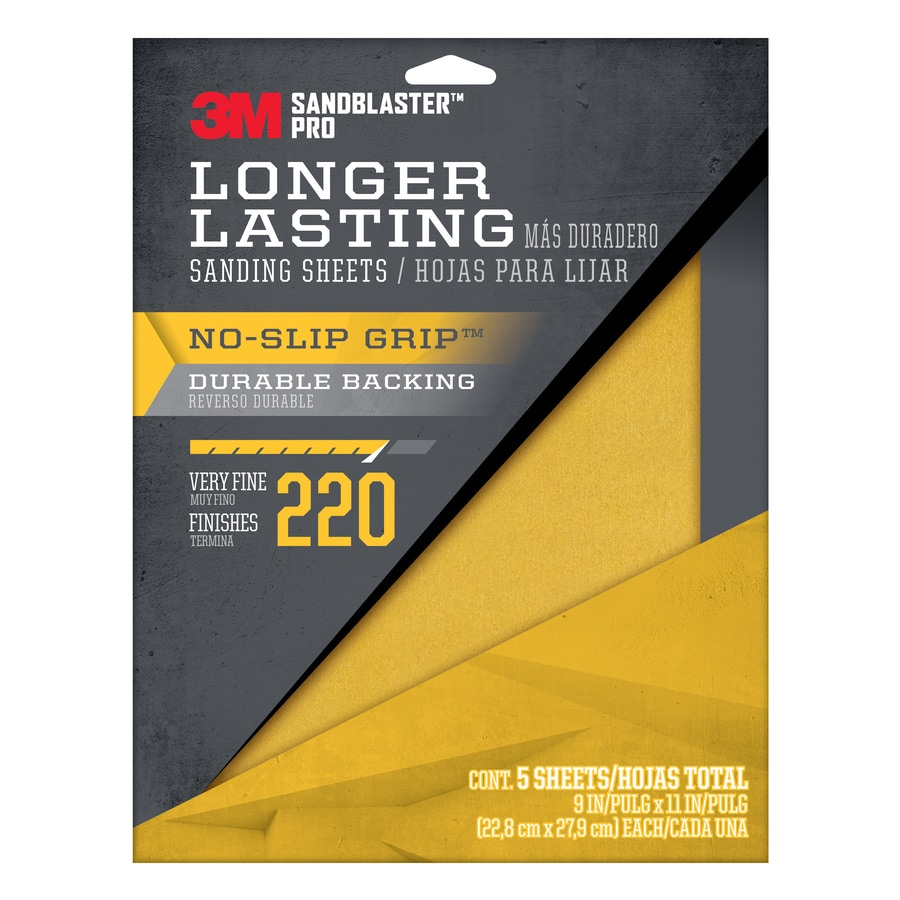 3M 5-Pack 9-in W x 11-in L 220-Grit Commercial Sandpaper Sheets