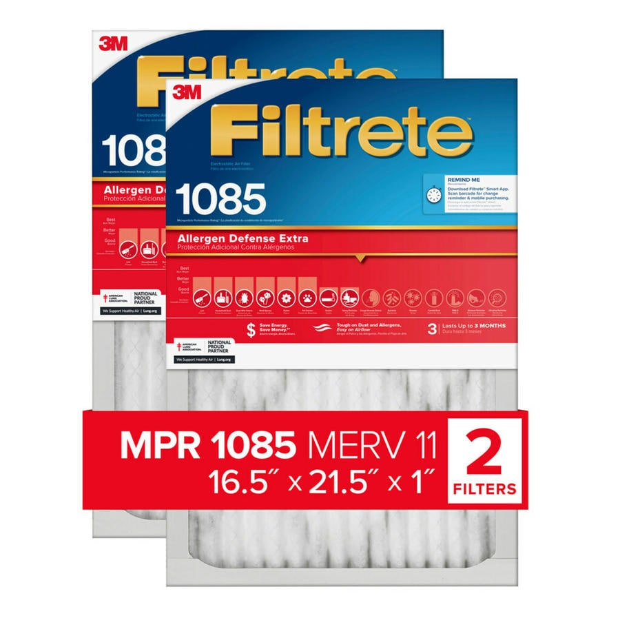 Filtrete 2-Pack (Common: 16.5-in x 21.5-in x 1-in; Actual: 16.3-in x 21.3-in x 0.8-in) Electrostatic Pleated Air Filters
