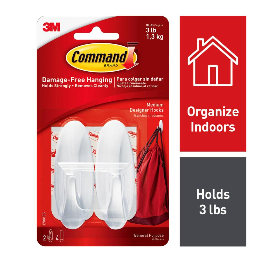Command 2 Pack White Adhesive Hooks