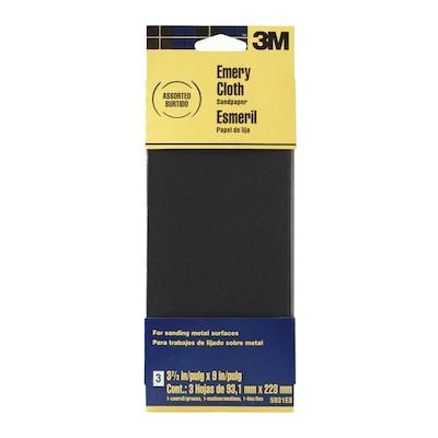 Sandpaper For Metal >> 3 Pack 3 67 In W X 9 In L Multi Grade Pack Grit Commercial Metal Sanding Sandpaper