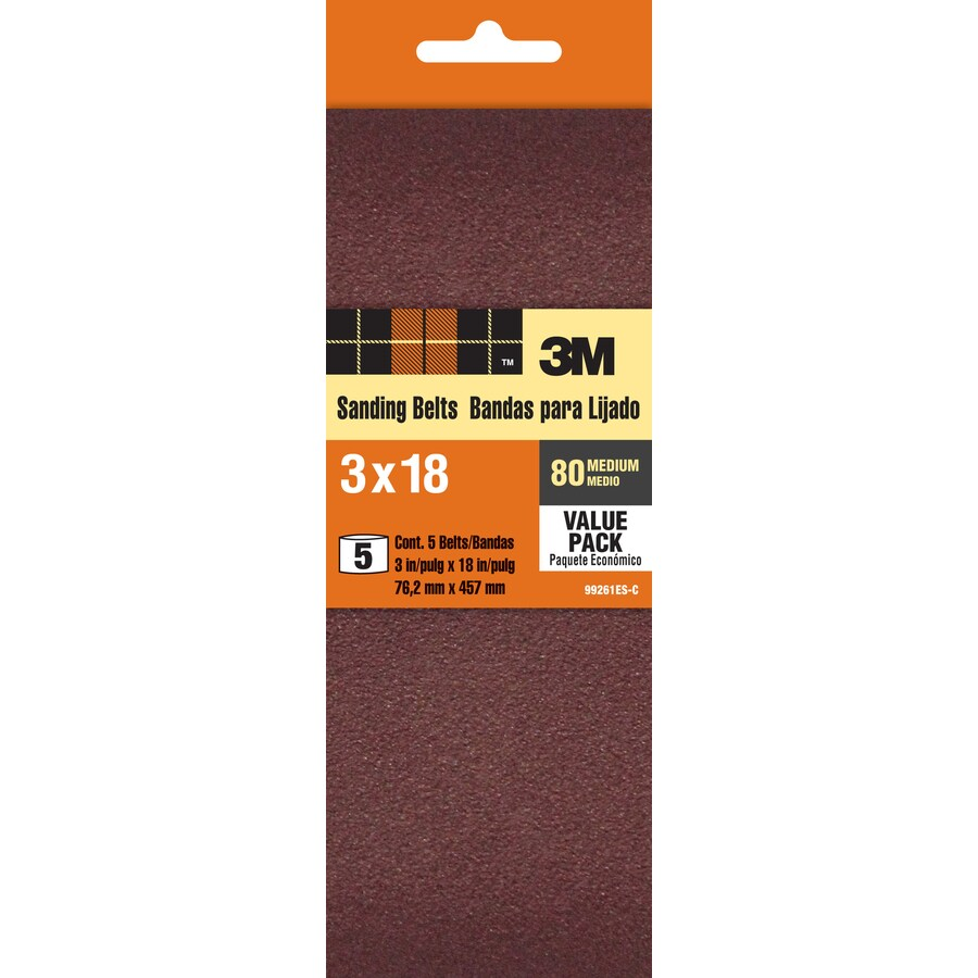 3M 5-Pack 3-in W x 18-in L 80-Grit Commercial Belt Sandpaper