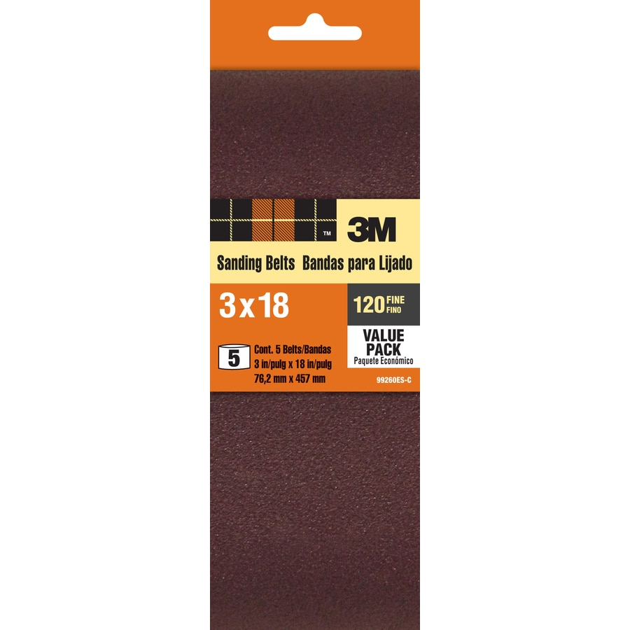 3M 5-Pack 3-in W x 18-in L 120-Grit Commercial Belt Sandpaper