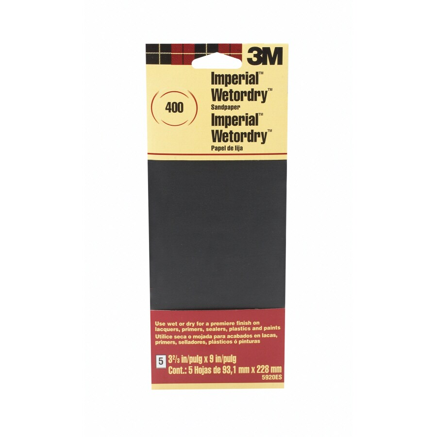 3M 5-Pack 3.67-in W x 9-in L 400-Grit Commercial Wet or Dry Sandpaper