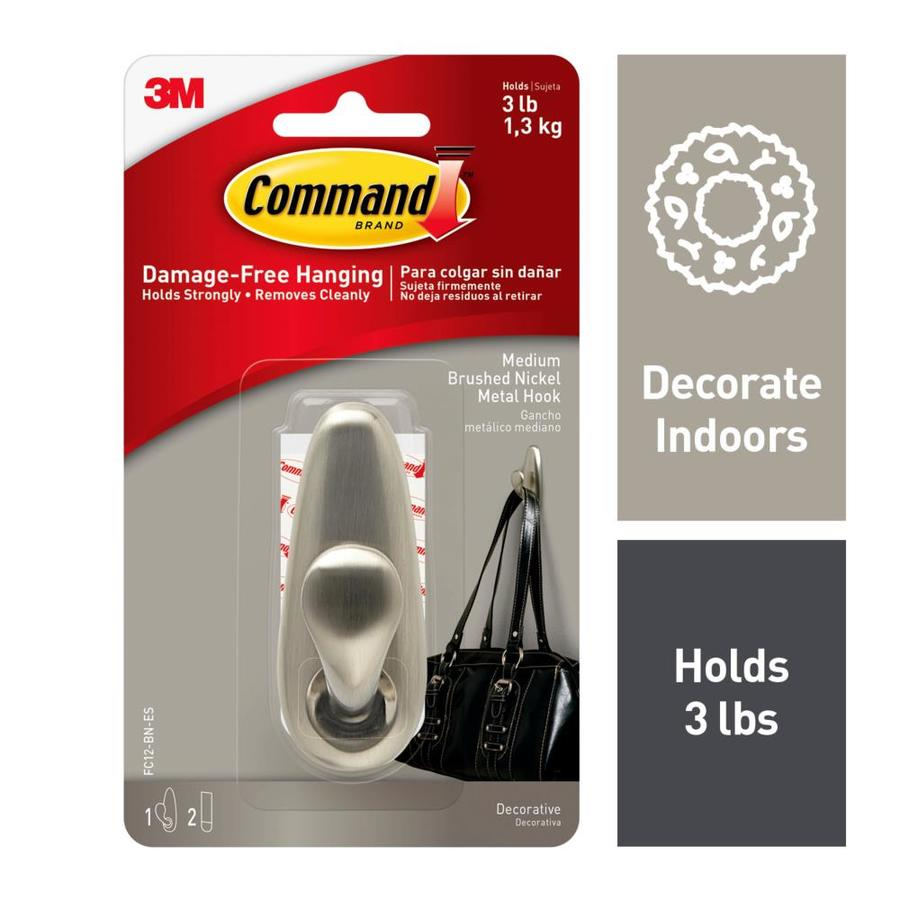 Command Brushed Nickel Adhesive Hook