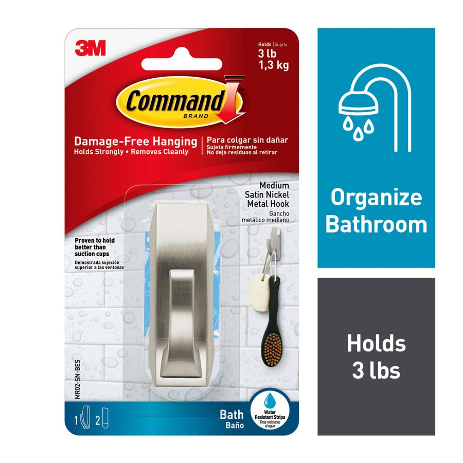 Command Satin Nickel Adhesive Hook