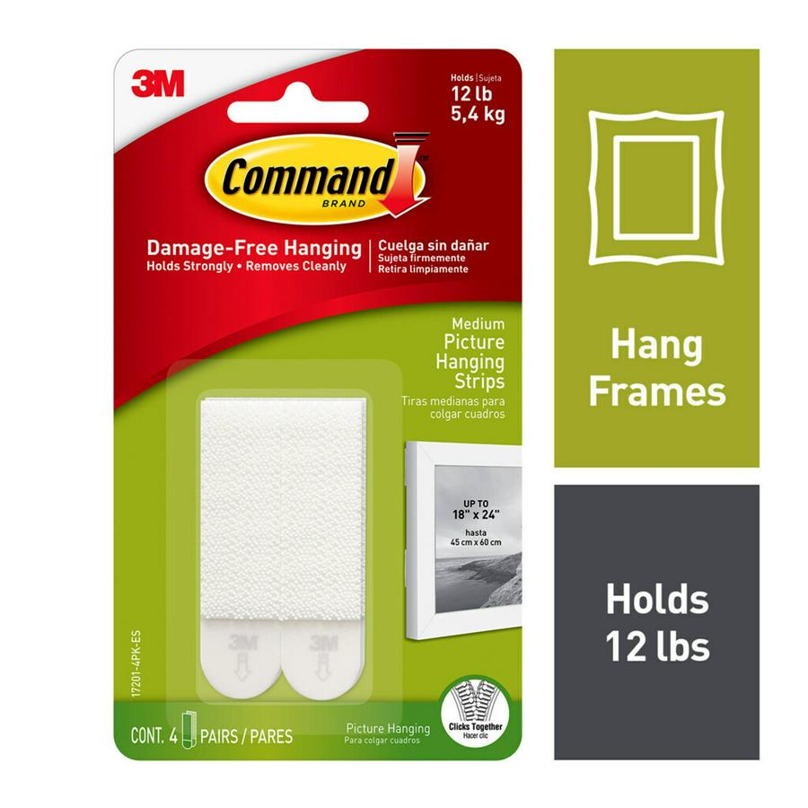 Command Picture Hanging Strips, Medium, White
