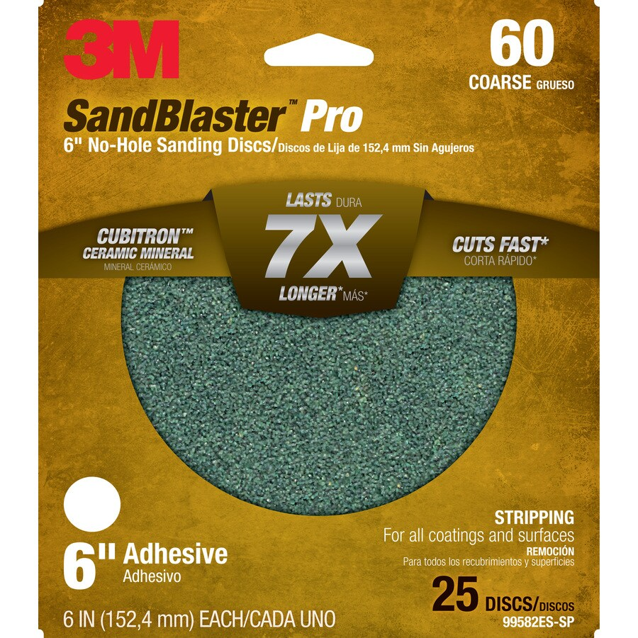 3M 25-Pack 6-in W x 6-in L 60-Grit Commercial Discs Sandpaper
