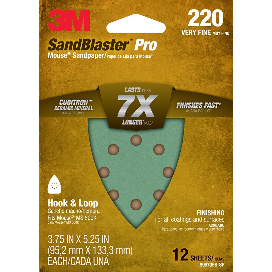 3M 12-Pack 3.75-in W x 5.25-in L 220-Grit Commercial Sandpaper Sheets