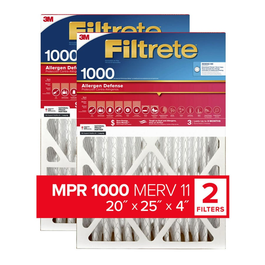 Filtrete 2-Pack (Common: 20-in x 25-in x 4-in; Actual: 19.75-in x 24.4375-in x 4.31-in) Electrostatic Pleated Air Filters