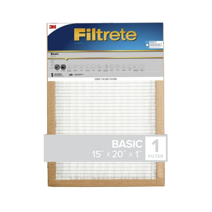 Filtrete (Common: 15-in x 20-in x 1-in; Actual: 14.7-in x 19.6-in x 0.8125-in) Basic Pleated Pleated Air Filter