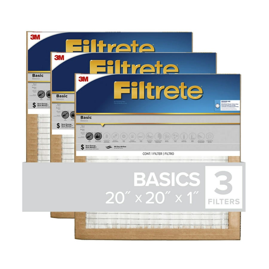 Filtrete 3-Pack Basic (Common: 20-in x 20-in x 1-in; Actual: 19.6-in x 19.6-in x 0.8125-in) Pleated Air Filter