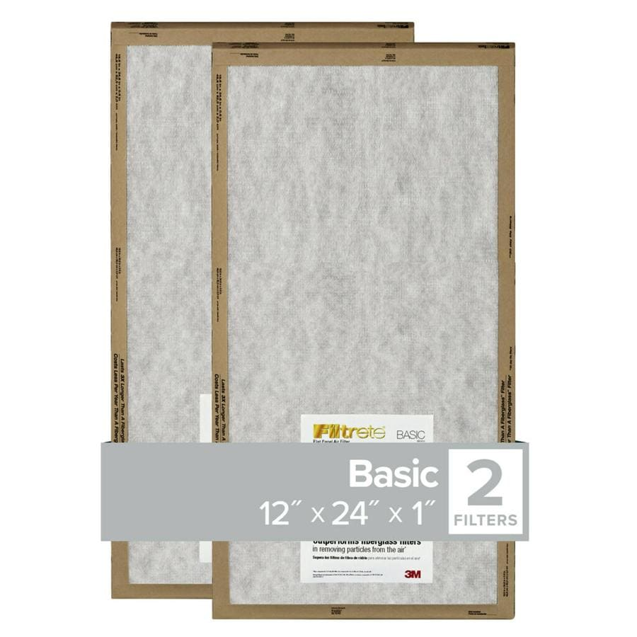 Filtrete 2-Pack Flat Panel (Common: 12-in x 24-in x 1-in; Actual: 11.7-in x 23.7-in x 0.8125-in) Basic Flat Air Filter