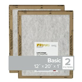 Filtrete 12-in x 20-in x 1-in Basic Flat 2-Pack Basic Flat Air Filter