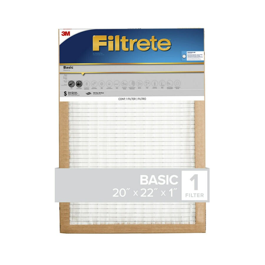Filtrete Basic (Common: 20-in x 22-in x 1-in; Actual: 19.7-in x 21.6-in x 0.8125-in) Pleated Air Filter