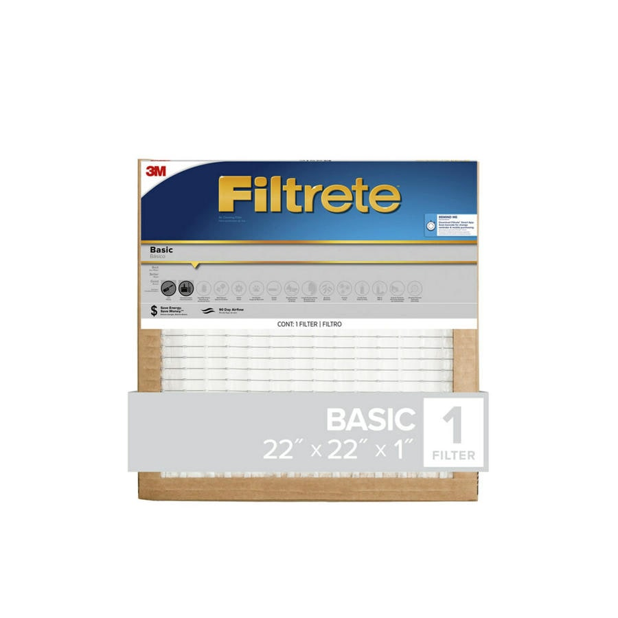 Filtrete (Common: 22-in x 22-in x 1-in; Actual: 21.6-in x 21.6-in x 0.8125-in) Basic Pleated Pleated Air Filter