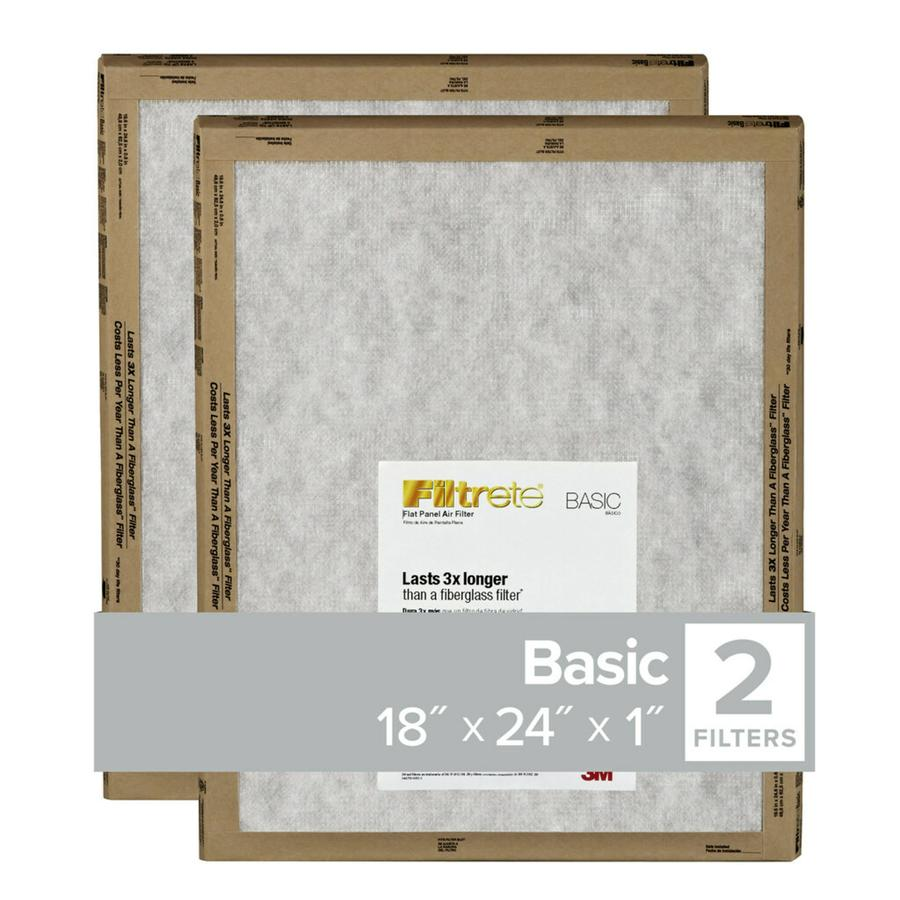 Filtrete 2-Pack (Common: 18-in x 24-in x 1-in; Actual: 17.7-in x 23.7-in x 0.8125-in) Basic Flat Air Filters